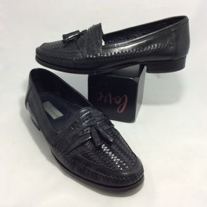 STACY ADAMS BLACK LEATHER LOAFERS WEAVED TASSEL 11